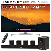 """LG 55SK9000PUA 55""""-Class 4K HDR Smart LED AI Super UHD TV w/ThinQ (2018 Model) with Sharper Image 5.1 Home Theater System w/Subwoofer, Sound Bar & Satellite Speakers"""