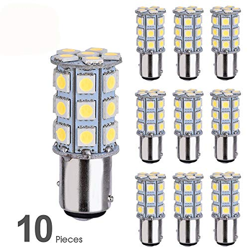 Smautop 10pcs Super Bright Low Power 1157 Led Bulbs BAY15D 7528 2057 2357 27SMD 5050 6500K White for Car RV Turn Signal Backup Reverse Parking LED Light Bulbs-2 Yr Warranty