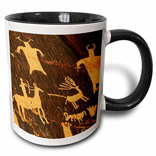 (3dRose 147223_4 Petroglyphs, Newspaper Rock, Canyonlands, Utah, USA Mug, 11 oz, Black)