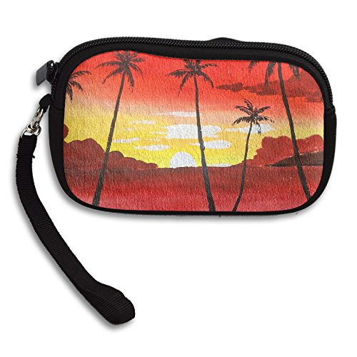 Sunset Palm Trees Receiving With Bag Portable Deluxe Small Purse Printing Eaawr5