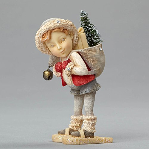 "Department 56 Heart of Christmas ""Elf On Snowshoes"" Stone Resin Figurine, 3.35"""