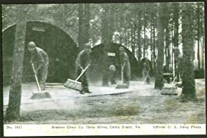 Seabees clean hives Camp Peary VA postcard 1940s