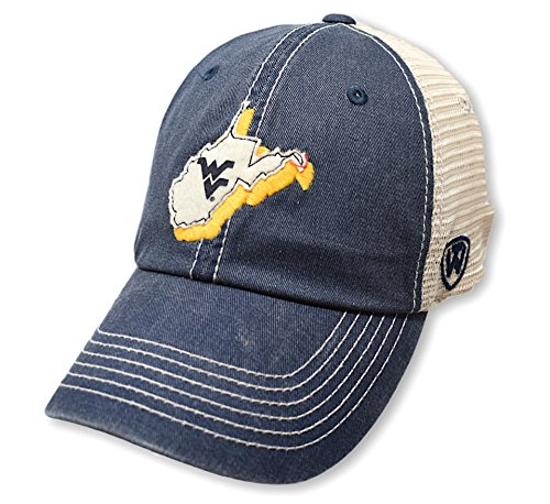 (Top of the World NCAA West Virginia Mountaineers Men's Elite Fan Shop Off Road Mesh Back Hat, Navy)