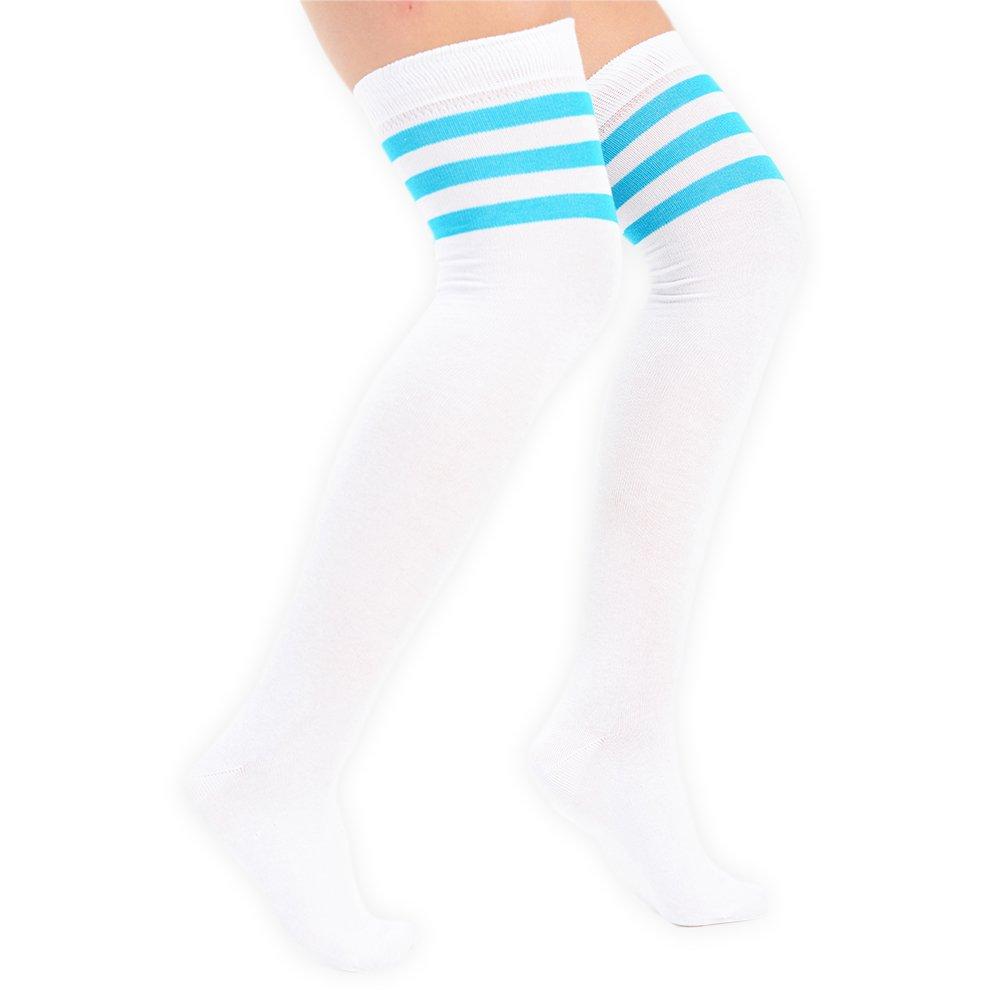 Ladies Womens Over The Knee Coloured 3 Striped Socks Thigh High Stockings UK 4-6 EU 37-39 Aqua