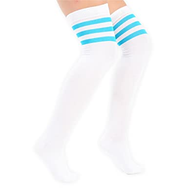 Ladies//Women Turquoise Thigh High Over The Knee Referee Socks with White Stripes