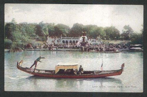 Central Scene Park - Gondola Lake Scene Central Park NY glitter added undivided back postcard 1900s