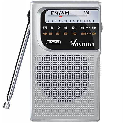 AM/FM Battery Operated Portable Pocket Radio - Best Reception and Longest Lasting. AM FM Compact Transistor Radios Player Operated by 2 AA Battery, Mono Headphone Socket, by Vondior (Silver)