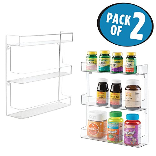 mDesign Plastic Wall Mount, 3 Tier Storage Organizer Shelf to Hold Vitamins, Supplements, Aspirin, Medicine Bottles, Essential Oils, Nail Polish, Cosmetics - Large Capacity, 2 Pack - Clear
