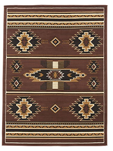 Southwestern Burgundy Area Rug - Rugs 4 Less Collection Southwest Native American Indian Area Rug Design R4L SW3 in Brown Chocolate (8'x10')