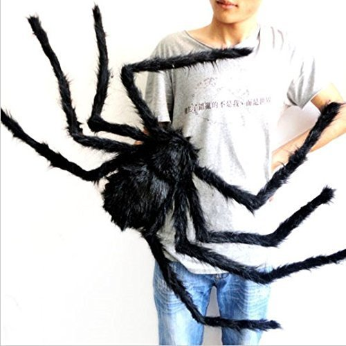 JCare 49 Inch 125CM Large Size Black Realistic Fake Plush Spider Puppet Prank Jokes Toy Made Of Wire And Plush Halloween Props Spider Funny Toy For Party Or Bar KTV Halloween Decoration