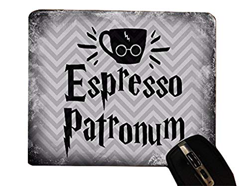 - Espresso Patronum Quote Old Style Chevron Pattern Desktop Office Silicone Mouse Pad by Trendy Accessories