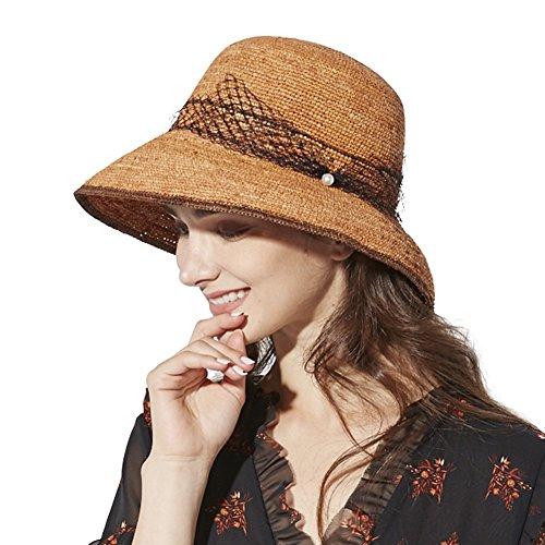 - Packable Womens Crochet Raffia Straw Floppy Sun Hat Fedora Summer Beach Panama Cloche Orange 56-58cm