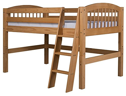 Camaflexi Arch Spindle Style Solid Wood Low Loft Bed, Twin, Side Angled Ladder, Natural ()