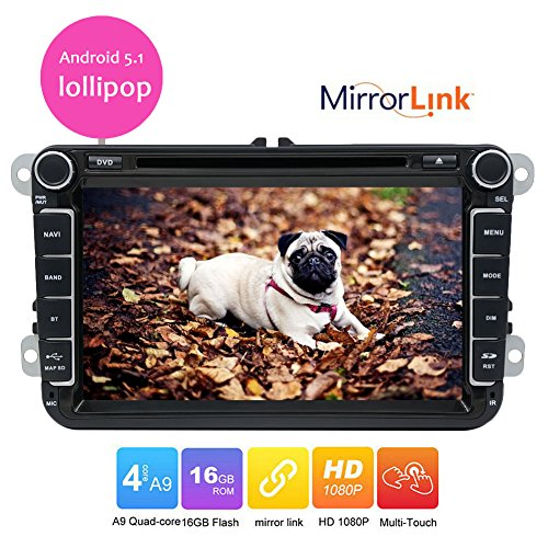 Hot sale 8 inch VW Car Radio Android 5.1 Lollipop Quad Core Cpu Mirror Link Car DVD Player Stereo Headunit Navigation For Volkswagen Skoda POLO GOLF PASSAT CC JETTA Steering wheel control OBD2 WIFI by EinCar
