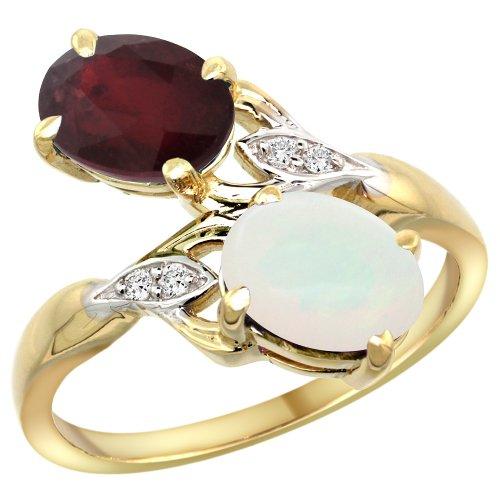 14k Yellow Gold Ruby & Opal 2-