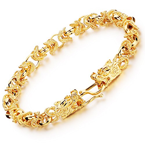 71a7fa31a OPK Jewelry 18k Yellow Gold Plated Men's Bracelet Chain 8mm Double Dragon  Link Wrist,8.66