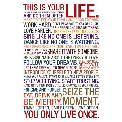 This Is Your Life Motivational Quote Poster 60x60 Cm Amazoncouk Inspiration This Is Your Life Quote Poster
