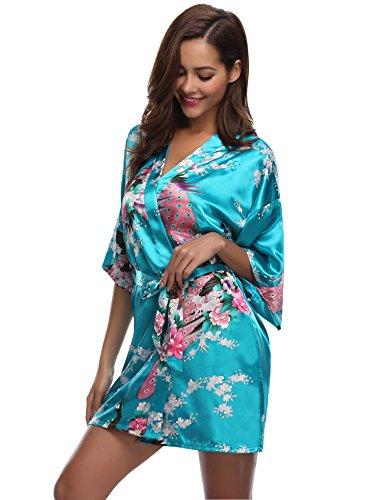 Kimono di Abbigliamento la festa Accappatoio regalo Lake Blue Nuit per Robe Pavone nuziale Aibo De Fiori Camicia raso Donna FwFB0