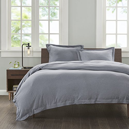 Ink+Ivy II12-678 Jersey Cotton Duvet Cover Mini Set Twin XL Grey, Twin/Twin X-Large, (Twin Duvet Cover Jersey)