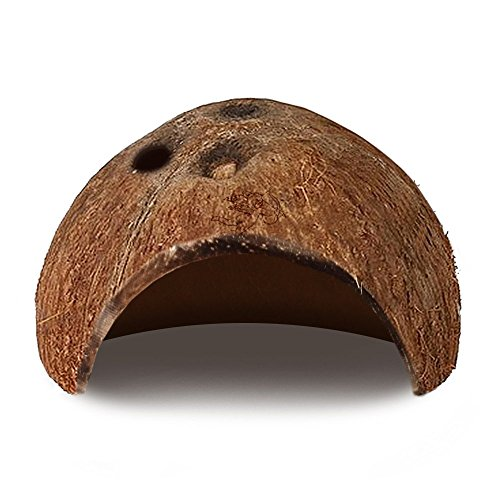 LUFFY Natural Coco Hut - Eco Friendly, Non-toxic, Made of Real coconut : Smooth Edges, Comfortable & Cute Hideout: Snag-Free Surface to Keep Fish, Snail and other pets Safe: Perfect - Hut Image