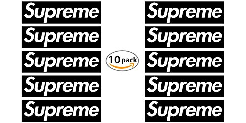 """10 Pack Supreme Box Logo Stickers, Authentically Designed 7.5"""" x 2.2"""" Black Waterproof Vinyl Decals for your Skate Deck, Car, or Wherever"""