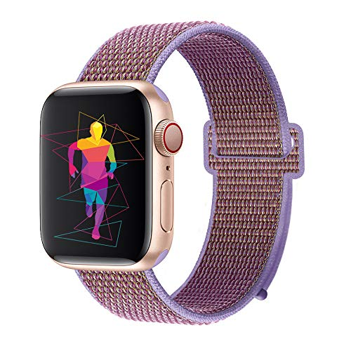 INTENY Sport Band Compatible with Apple Watch 44mm, Soft Lightweight Breathable Nylon Sport Loop, Strap Replacement for iWatch Series 4, Series 3, Series 2, Series 1 (Lilac, 44mm) ()