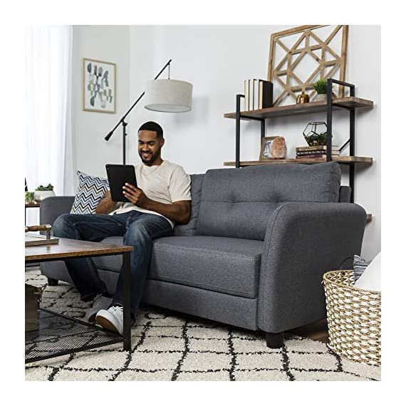 Best Choice Products 76 inch Linen Fabric Upholstered Contemporary Sofa Couch Lounger, Dark Gray - CLASSIC STYLE: This sofa's simple design makes it ideal for any living space, with an adaptable appearance that blends well in a variety of stylish home setups COMFORTABLE DESIGN: Soft cushioned seats and a tufted backrest provide optimal comfort for you and guests as you lounge over drinks and good conversation GREAT FOR COMPACT SPACES: Made to fit seamlessly in your living room, bonus room, dorm, and more, this sofa doesn't carry excess bulk that takes up too much space - sofas-couches, living-room-furniture, living-room - 51bb83DkfwL. SS570  -