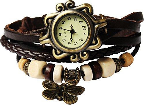 Women Handmade Watches Weave Wrap Leather Bracelet Wristwatch White - 7