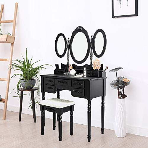(Goujxcy Dresser Vanity Set Dressing Table,7 Drawers Tri-Folding Necklace Hooked Mirror Makeup with Cushioned Stool, Removable Mirror Organizer)
