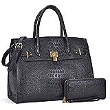 DASEIN Women's Purses and Handbags Shoulder Bags Ladies Tote Bags Padlock Satchels with Wallet