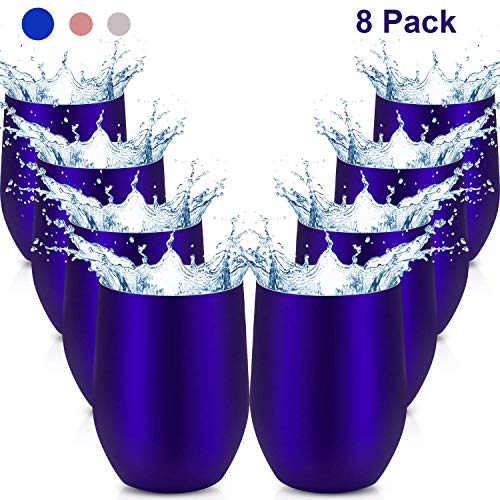 - Maxdot 8 Pack Stemless Wine Glasses 12 OZ Double Wall Vacuum Insulated Wine Tumbler Cup with Lids, Durable Insulated Coffee Mug, for Wine, Cocktail, Champagne, Beer, Water (Blue)