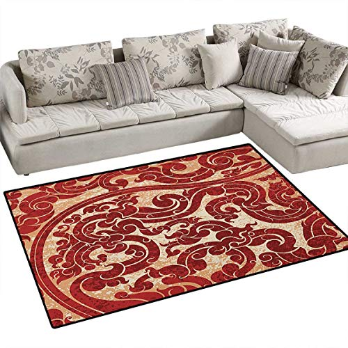 Antique,Floor Mat,Thai Culture Vector Abstract Background Flower Pattern Wallpaper Design Artwork Print,Area Rug,Ru Size:36