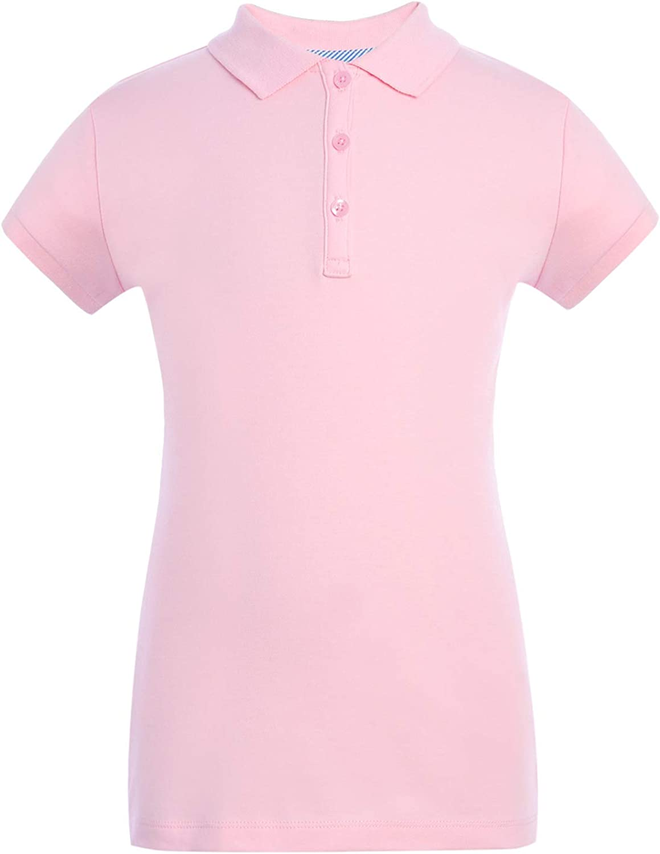 Tommy Hilfiger Short Sleeve Interlock Girls Fit Polo Shirt, Kids School Uniform Clothes: Clothing