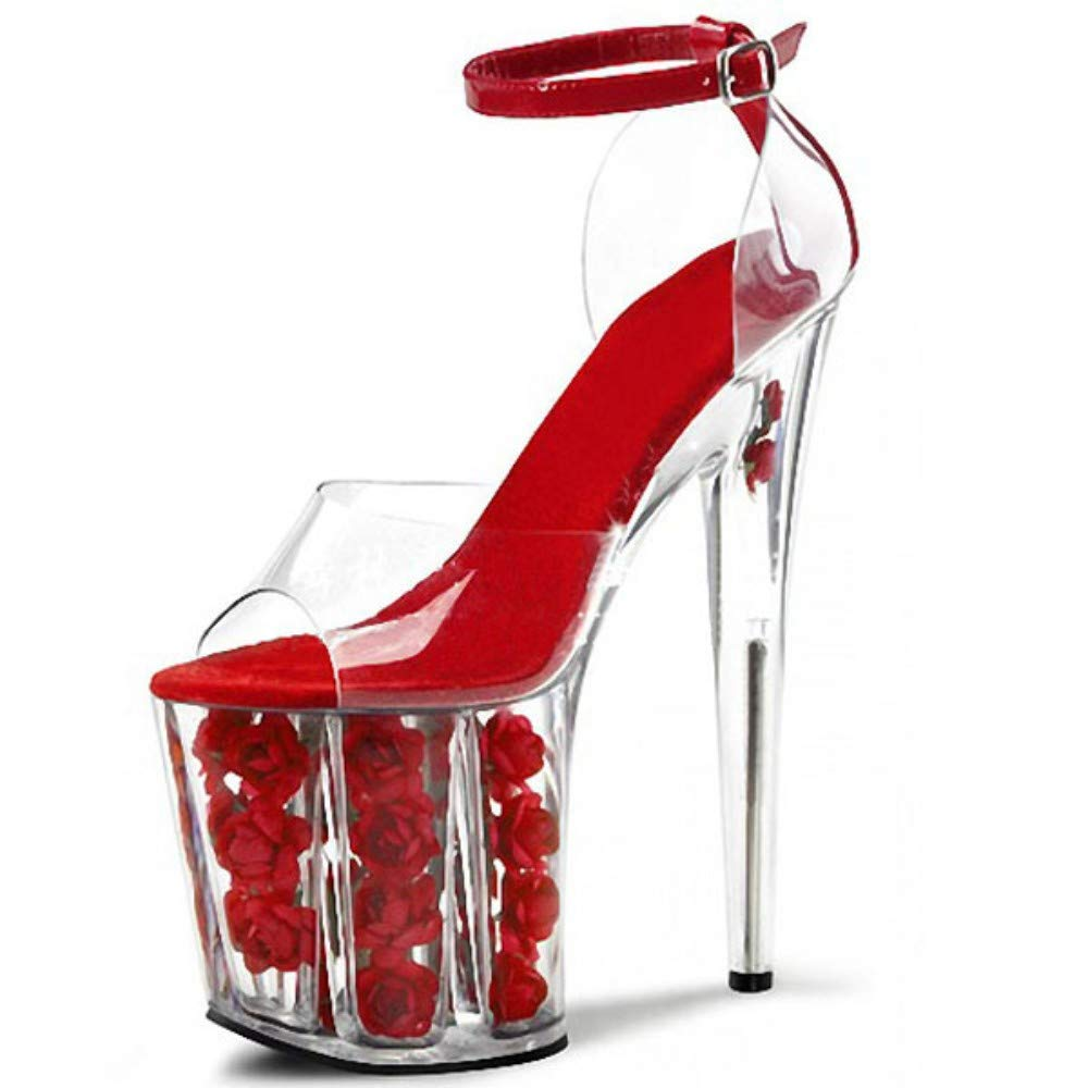 Damen High Heels Sandaletten Mit Knoechelriemchen, Rosa Blüten Komfortable Plattform Rot Transparent 20 cm Sexy Elegante Damen Open Toe Stiletto Schuhe Für Summer Party Show Hochzeit B07QFMS566 Tanzschuhe Authentische Garantie