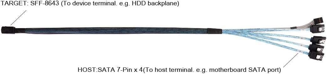 Target to SATA 7Pin Host +Sideband Cable 0.6M Components Other CPS05-RE SilverStone Technology 36 Pin Minisas Sff-8643