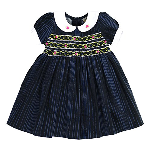 sissymini - Infant and Toddlers Soft Corduroy Printed Hand Smocked Dress | Laney Reid's Distressed Stripes in Midnight Blue 4T