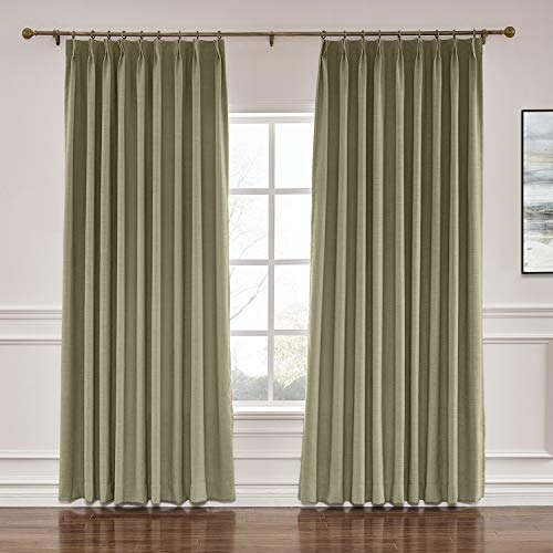 Prim Patio Sliding Door Curtains Linen Room Darkening Thermal Insulated Blackout Pinch Pleat Window Curtain for Living Room, Taupe Grey, 100x84-inch, 1 Panel