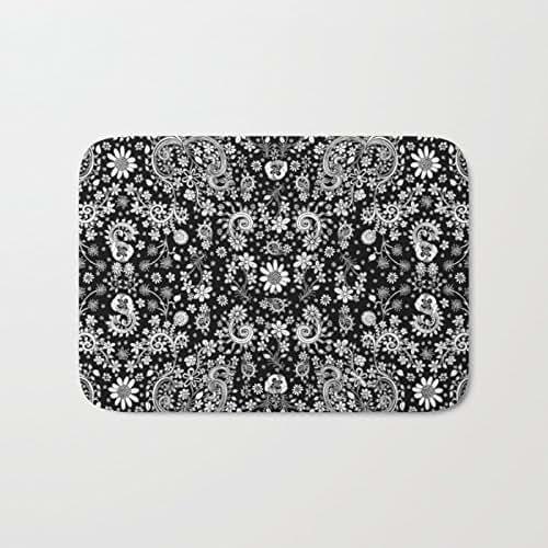Amazon.com: Black And White Floral Microfiber Bath Or Kitchen Mat Rug Carpet. Unique Shabby