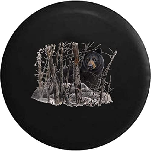American Brown Black Bear in the Woods Jeep RV Spare Tire Cover Black 32 in supplier