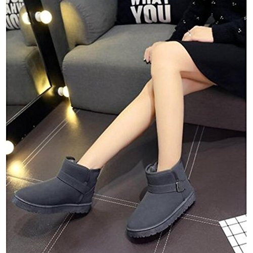 Winter Boots Ankle Black HSXZ ZHZNVX Gray Comfort Leather Fall Casual Nappa Boots Women's Toe Khaki Khaki Round Booties Flat for Shoes wXS6O