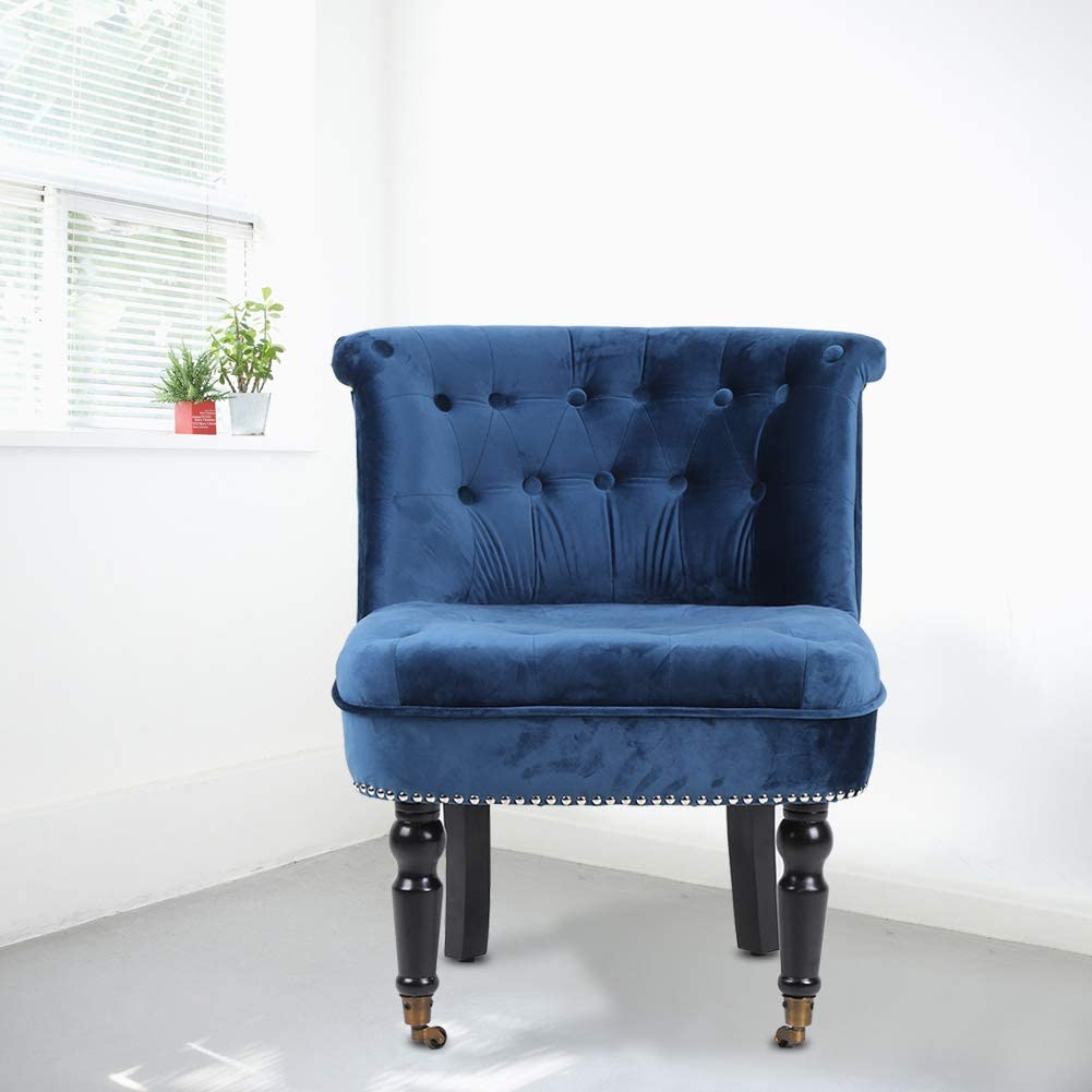 Seduta e Schienale Imbottiti 65 x 48 x 78cm Sedia Sala da Pranzo Poltrona Stile Classico Blu EBTOOLS Poltroncine per Soggiorno in Velluto con Ruota