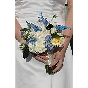 Vintage Style Ivory Yellow Rose Bridal Bouquet w/ Blue Sweetpea 82