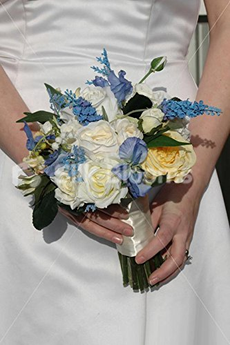 Vintage-Style-Ivory-Yellow-Rose-Bridal-Bouquet-w-Blue-Sweetpea