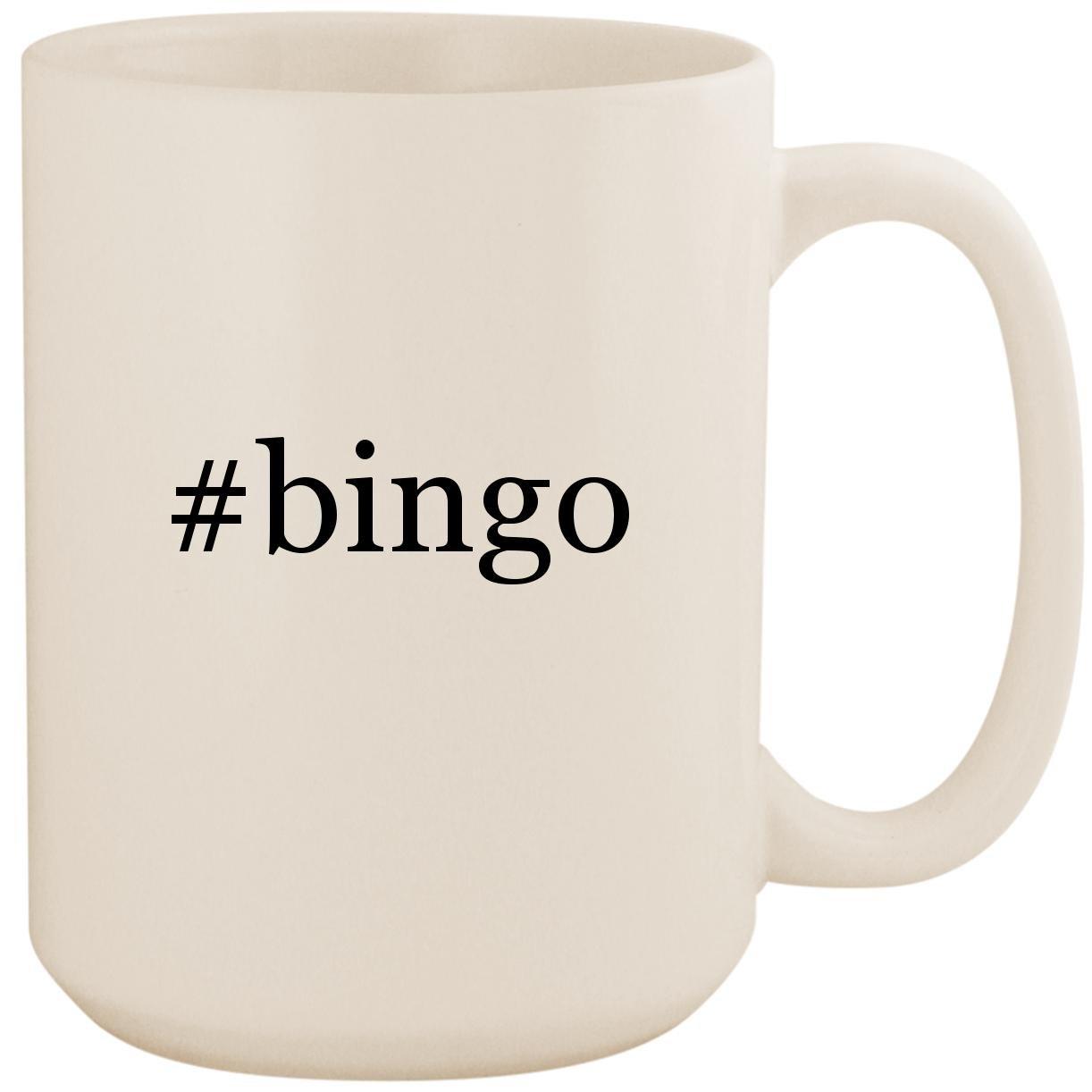 #bingo - White Hashtag 15oz Ceramic Coffee Mug Cup