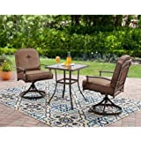 Wentworth 3-Piece Brown Bistro Set with Plush Reversible Cushions