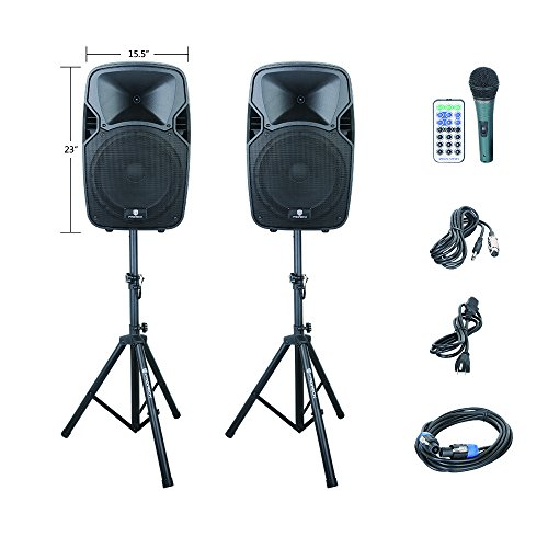 PRORECK PARTY 12 Portable 12-Inch 600 Watts 2-Way Powered PA Speaker System Combo Set with Bluetooth/USB/SD Card Reader/ FM Radio/Remote Control/Speaker Stand by PRORECK