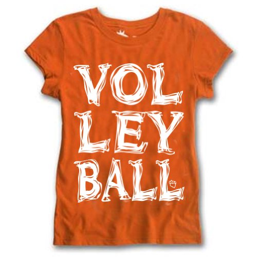 Sports Katz Big Girls VOLLEYBALL Big Print T-shirt Orange Youth Medium - Girls Volleyball T-shirts