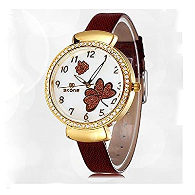 Womens Brown Leather Watches With Gold Case And Rhinestone Fashion Bracelet Wristwatch