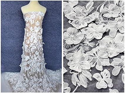 4 colors 3d pink chiffon flower organza fabric wedding lace bridal lace dress fabric 51 width by the yard
