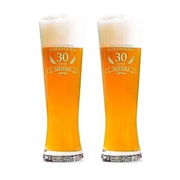 Amavel 2er Set Weizenbierglas Gravur Zum 30 Geburtstag